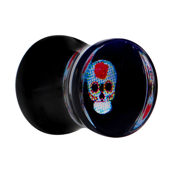 0 Gauge Midnight Sugar Skull Acrylic Saddle Plug
