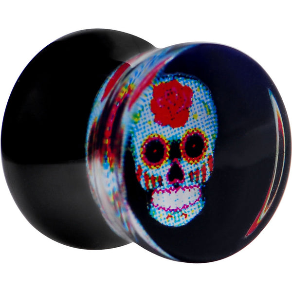 "1/2"" Midnight Sugar Skull Acrylic Saddle Plug"