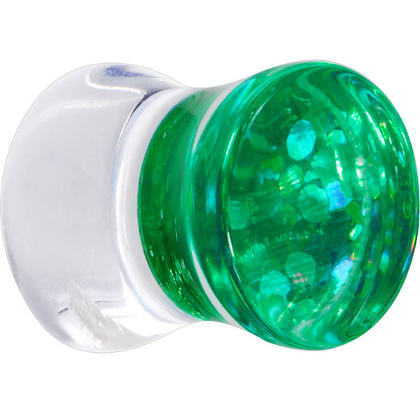 0 Gauge Lime Glitter Inlay Saddle Plug