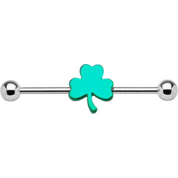 14 Gauge Stainless Steel Green Shamrock Industrial Barbell 31mm