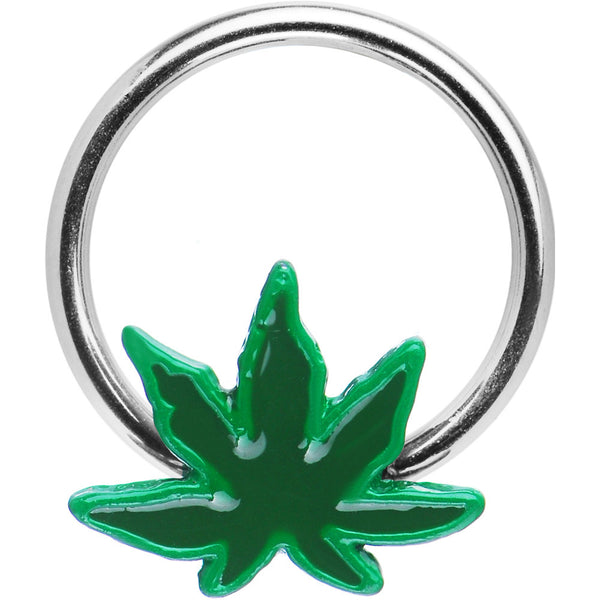 Pot Leaf Captive Bead Ring