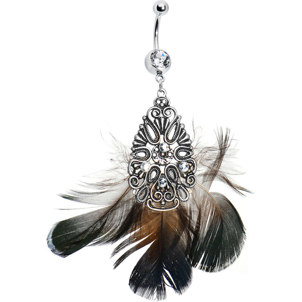 Crystalline Gem Ornate Teardrop Feather Belly Ring