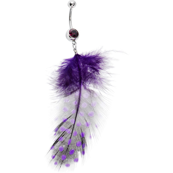 Passionate Purple Feather Belly Ring