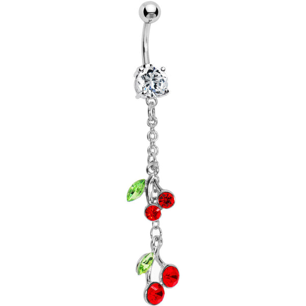 Ruby Red Gem Chain Dangle Cherry Belly Ring