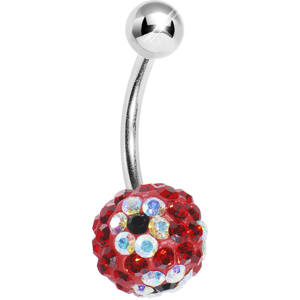 Red Clear Flower Austrian Crystal Evolution Belly Ring