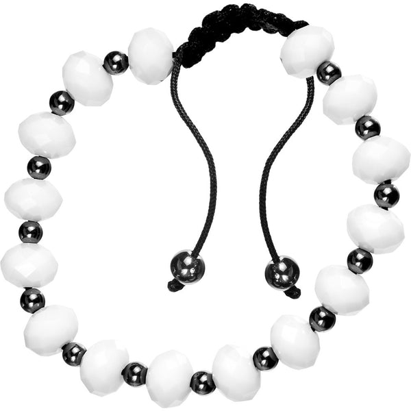 White Glass Beaded Shamballa Bracelet Unisex