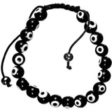 Black Evil Eye Beaded Shamballa Bracelet Unisex