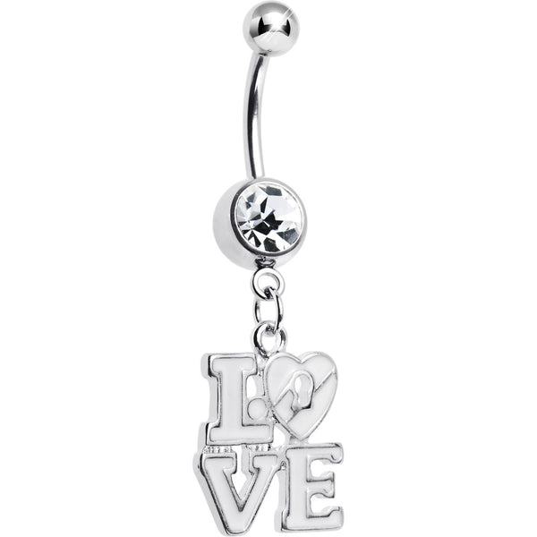 Clear Gem Dangling Love Belly Ring