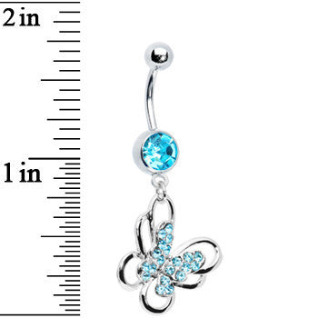 Aqua Multi Paved Gem Butterfly Belly Ring