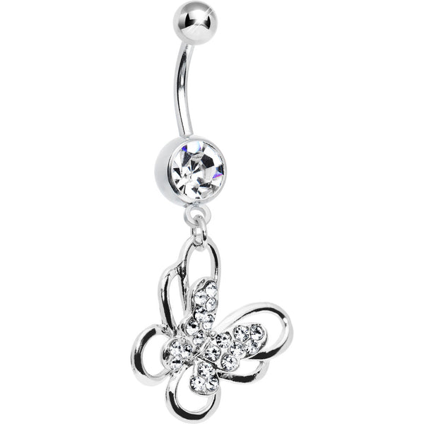 Clear Multi Paved Gem Butterfly Belly Ring