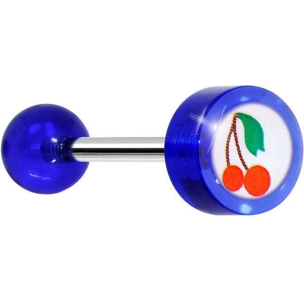 Blue Acrylic CHERRY Logo Barbell Tongue Ring