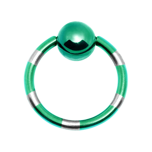 14 Gauge Green Silver Striped Titanium Captive Ring