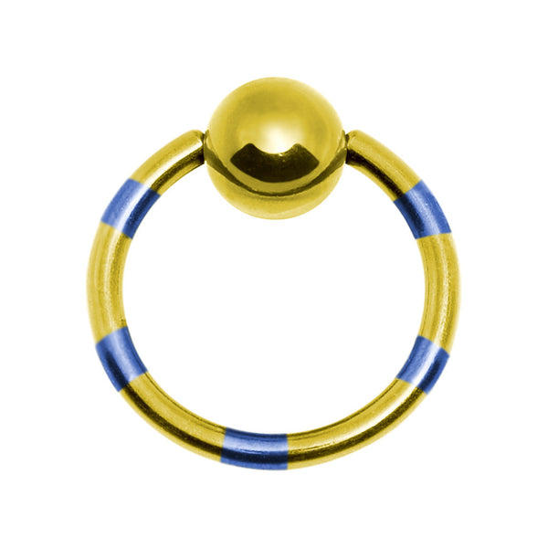 "16 Gauge 1/2"" Yellow Blue Striped Titanium BCR Captive Ring"