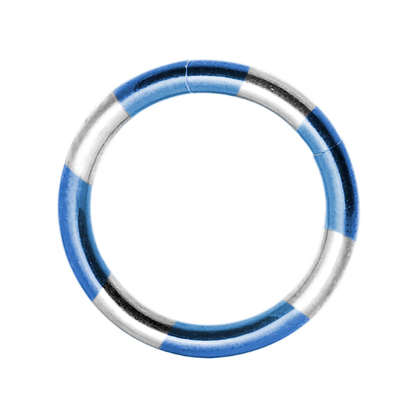 16 Gauge 5/16 Blue Silver Anodized Titanium Segment Ring