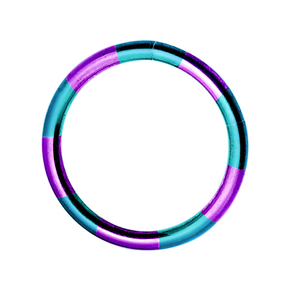 16 Gauge 3/8 Teal Purple Anodized Titanium Segment Ring