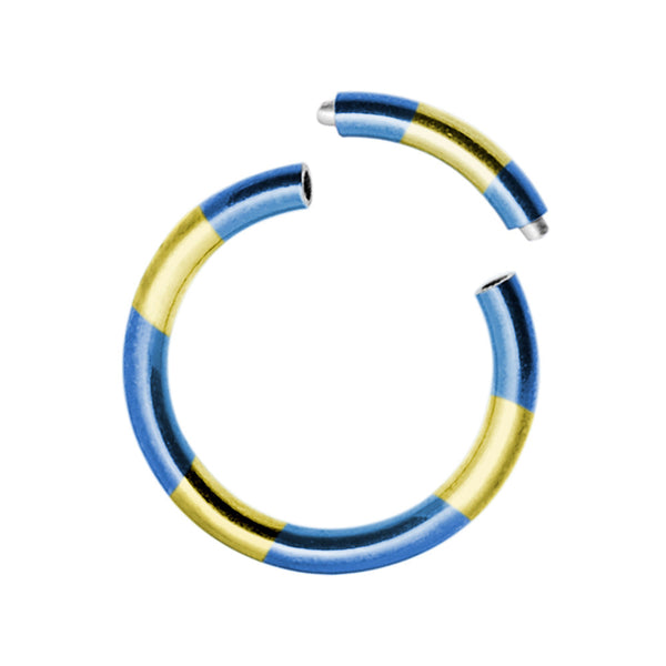 16 Gauge 3/8 Blue Yellow Anodized Titanium Segment Ring