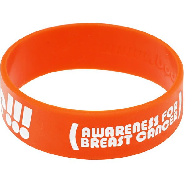Orange White Boobies Rule Awareness for Breast Cancer Bracelet