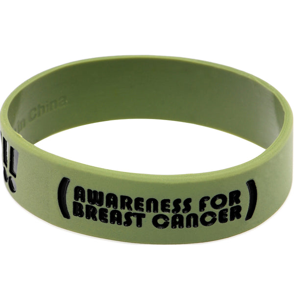Army Green Black Boobies Rule Awareness for Breast Cancer Bracelet
