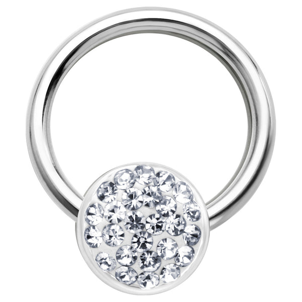 16 Gauge 3/8 Clear Round Crystal Ice Captive Nipple Ring