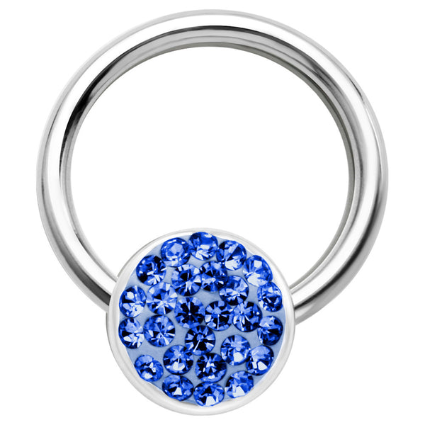 16 Gauge 3/8 Blue Round Crystal Ice Captive Nipple Ring