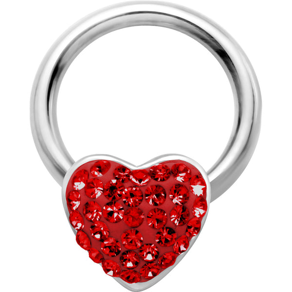 "14 Gauge 1/2"" Red Heart Crystal Ice Captive Nipple Ring"