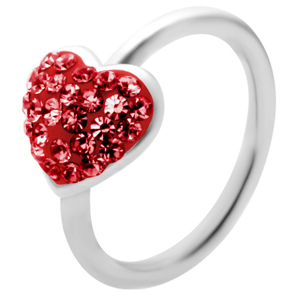 "16 Gauge 3/8"" Red Heart Crystal Ice Captive Belly Ring"