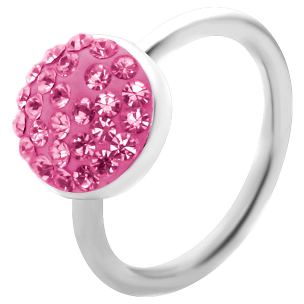 "16 Gauge 3/8"" Pink Round Crystal Ice Captive Belly Ring"