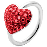 "14 Gauge 1/2"" Red Heart Crystal Ice Captive Belly Ring"