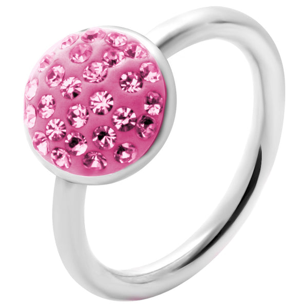 "14 Gauge 1/2"" Pink Round Crystal Ice Captive Belly Ring"