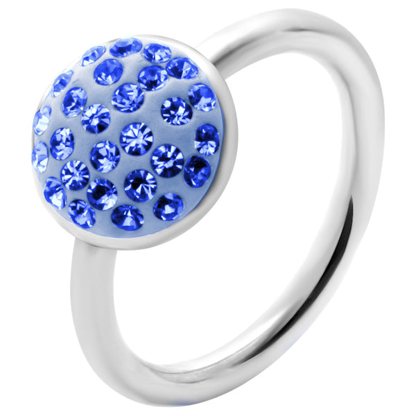 "14 Gauge 1/2"" Blue Round Crystal Ice Captive Belly Ring"