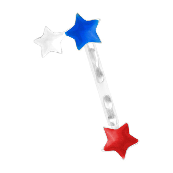 Patriotic Stars Sterling Silver Acrylic Push In Eyebrow Ring