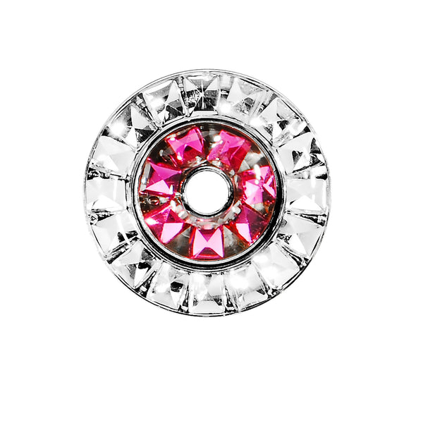 1/2 Stainless Steel Rose Flower Clear CZ Double Row Screw Fit Tunnel