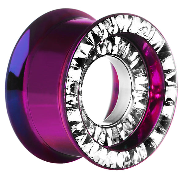 "3/4"" Titanium Cubic Zirconia Multi Gem Screw Fit Tunnel"