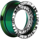 "1"" Green Titanium Clear CZ Double Row Screw Fit Tunnel"