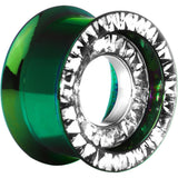 "3/4"" Green Titanium Clear CZ Double Row Screw Fit Tunnel"