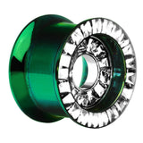 "5/8"" Green Titanium Clear CZ Double Row Screw Fit Tunnel"