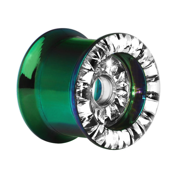 "9/16"" Green Titanium Clear CZ Double Row Screw Fit Tunnel"