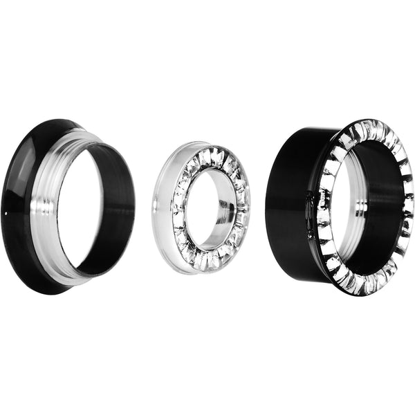 3/4 Black Titanium Clear CZ Double Row Screw Fit Tunnel