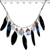 Native Nature Feather and Leaf Dangle Necklace