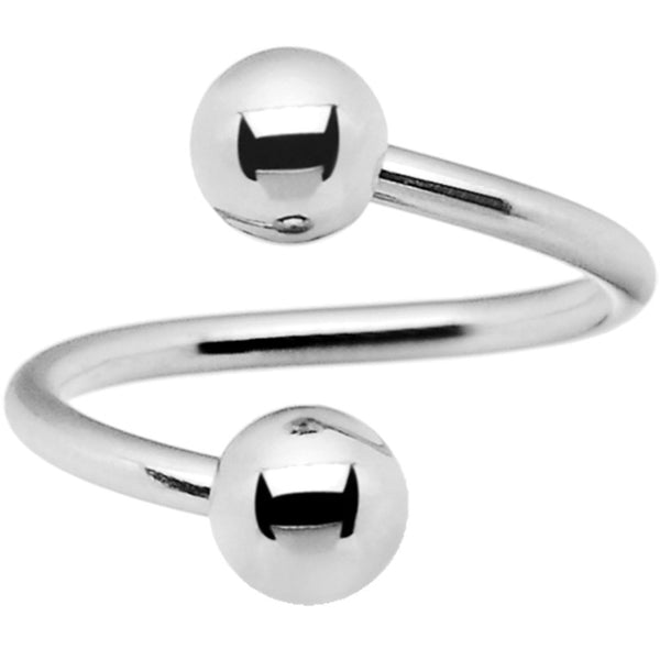 14 Gauge Stainless Steel 5mm Ball Spiral Twister Ring - 1/2