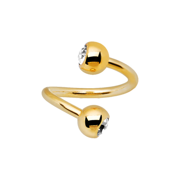 14 Gauge Gold Plated Clear Gem Spiral Twister Ring-5mm