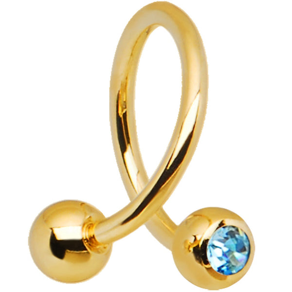 16 Gauge Gold Plated Aqua Gem Spiral Twister Ring-4mm