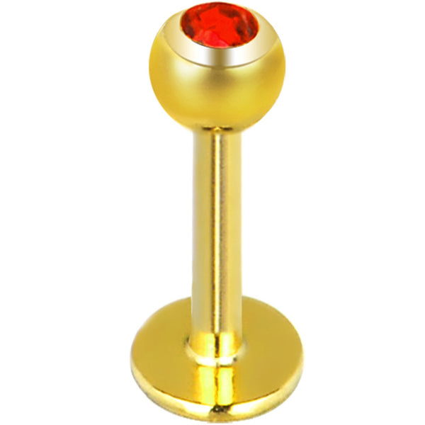 14 Gauge 3/8 Red Gem Gold Plated Labret Monroe