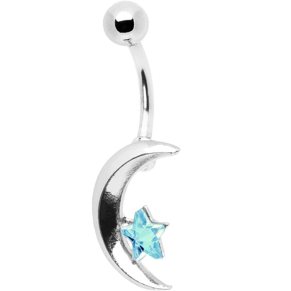Azure Skies Celestial Star and Crescent Moon Belly Ring