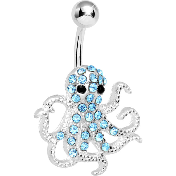 Blue Gem Encrusted Floating Octopus Belly Button Ring