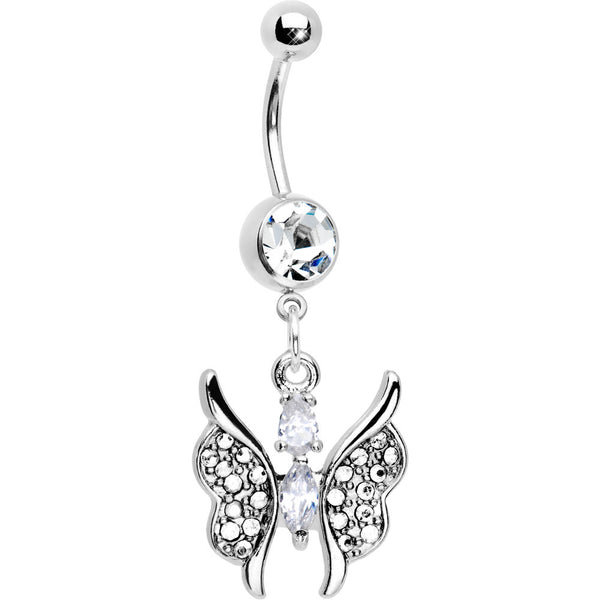 Cool Crystalline Charming Butterfly Drop Belly Button Ring