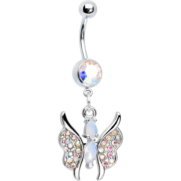 Alluring Aurora Charming Butterfly Drop Belly Button Ring
