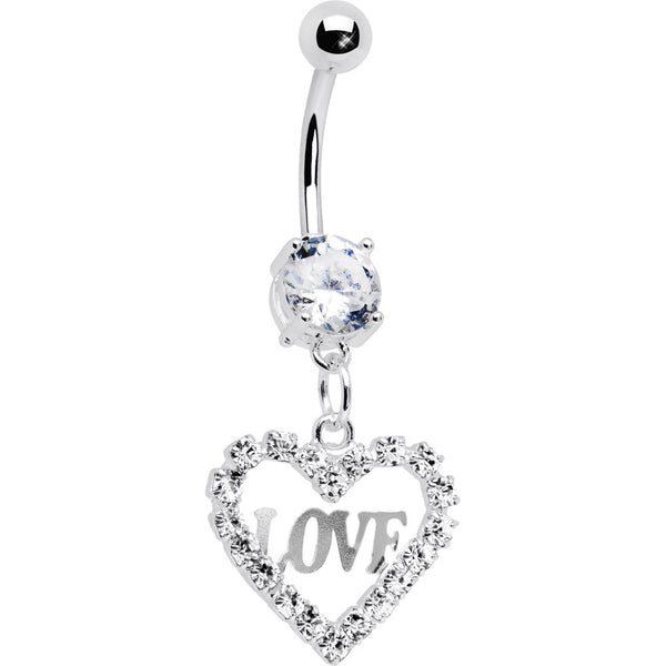 Classy Clear Heart of Love Gem Belly Ring