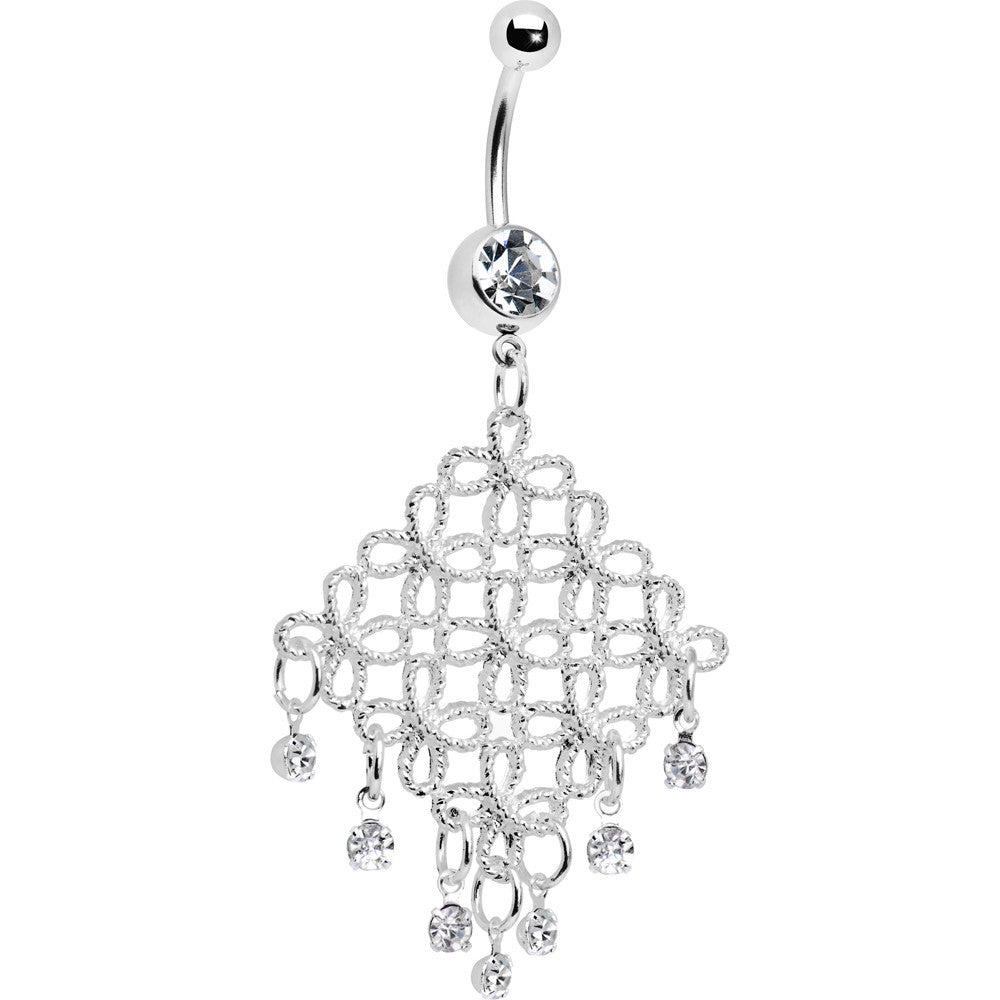 Crystalline diamond cascade chandelier belly ring bodycandy crystalline diamond cascade chandelier belly ring mozeypictures Images