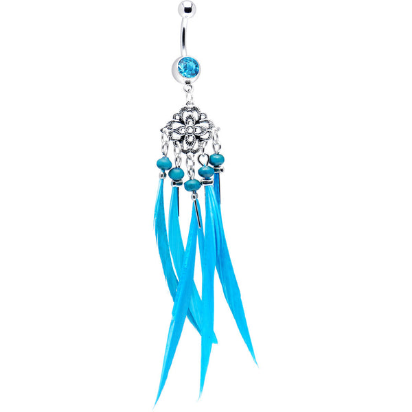 Aqua Gem Southwestern Chandelier Feather Belly Ring